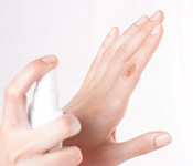 Clean the wound with a disinfectant spray